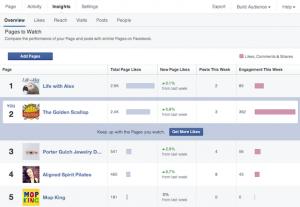 Статистика интересующих страниц на Фейсбук