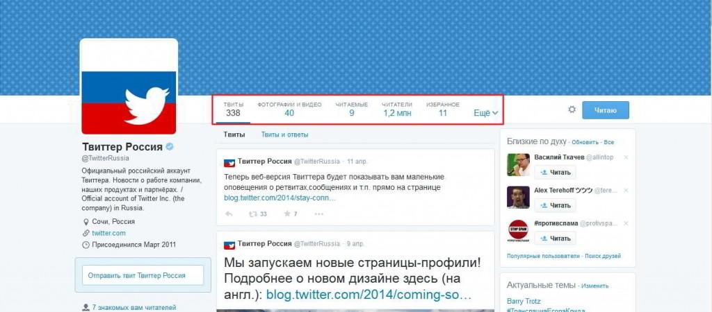 Новый дизайн профиля на Твиттер - пример Твиттер
