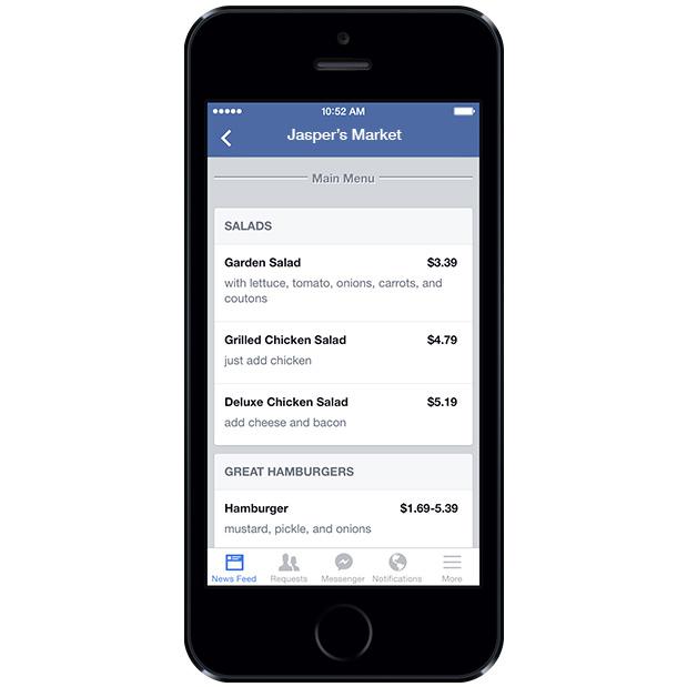 Новая функция для страниц Фейсбук ресторанное меню
