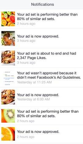 Фейсбук запустил менеджер рекламы для iOS - уведомления