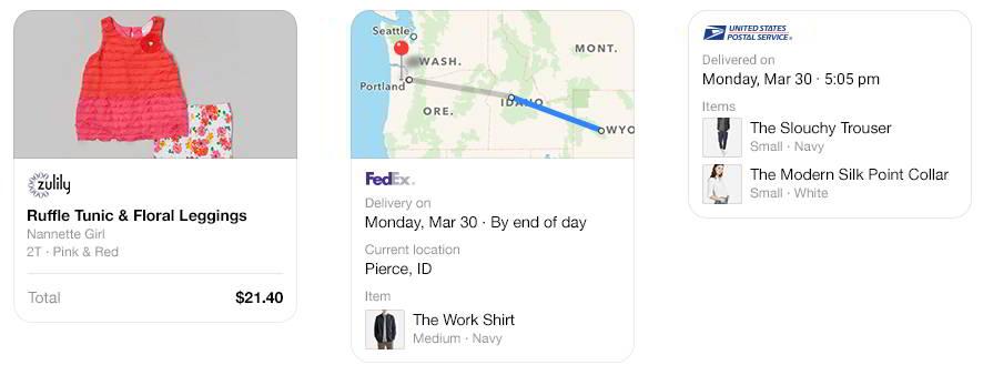 Сообщения об отправке товара на Фейсбук Мессенджер
