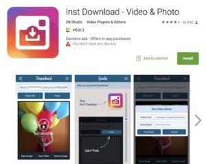 Приложение Inst Download - Video & Photo