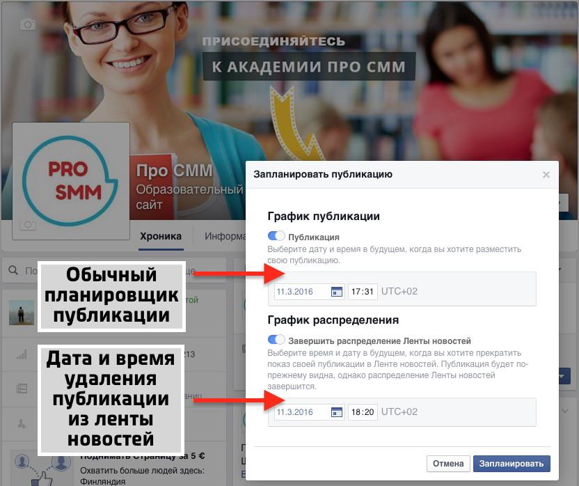 График распределения в ленте новостей в Фейсбук