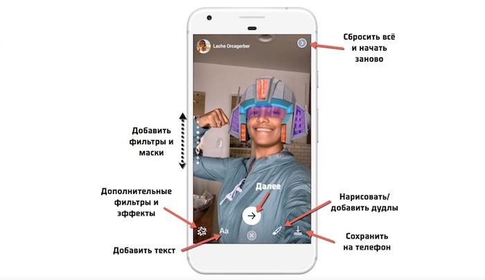 Как добавить фильтры, маски и текст к истории в Фейсбук