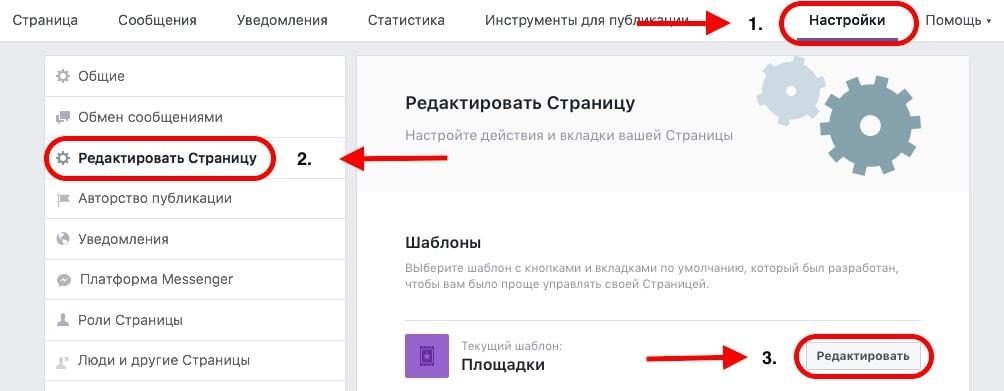 Где меняется шаблон на странице в Facebook