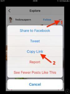 Как скопировать ссылку на пост в приложении Инстаграм