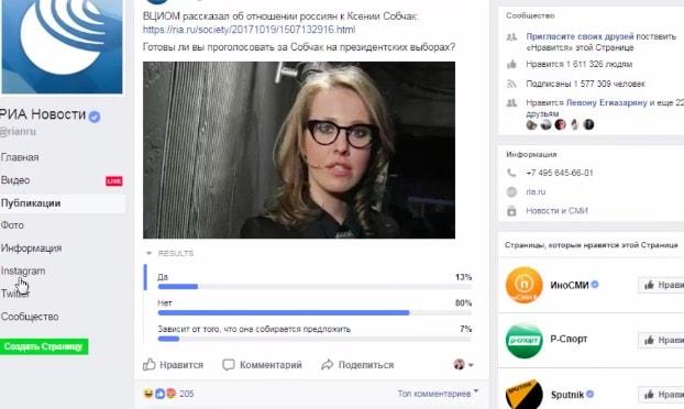 Опросы на страницах в Фейсбук