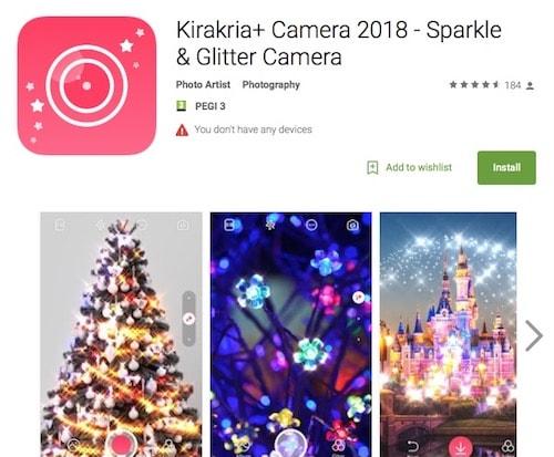 Приложение Kirakria+ Camera 2018 - Sparkle & Glitter Camera