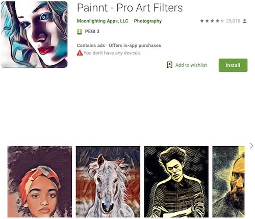 Как превратить фото в картину на Андроид - приложение Painnt - Pro Art Filters
