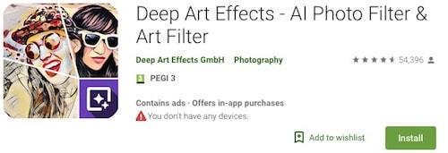 Приложение с арт-фильтрами для Андроид - Deep Art Effects