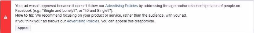 Сообщение о том, что реклама не прошла модерацию в Фейсбук