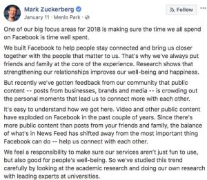 Алгоритм Фейсбук предпочитает друзей бизнес страницам